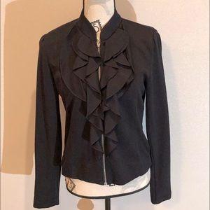 Ruffle front zip jacket